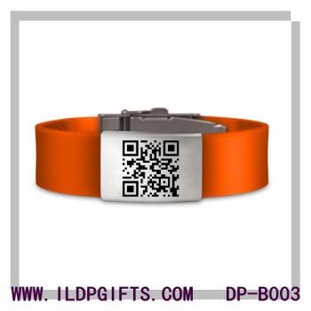 Stainles steel QR Code Bracelet laser