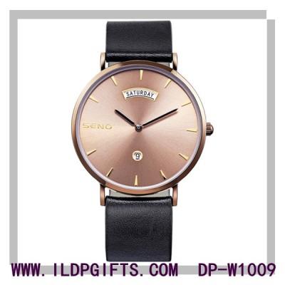 Retro Leather Calendar Quartz Watch