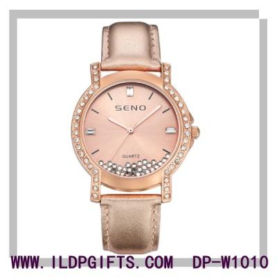 Waterproof Diamond Leather Quartz Watch