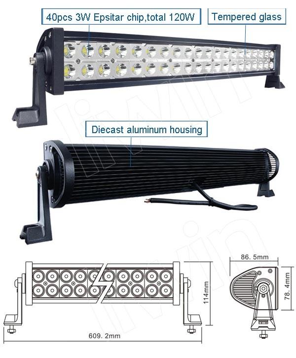 높은 전력 120w LED 바 작동 차량 조명은 빛을 주도 바 주도 작업 빛 바