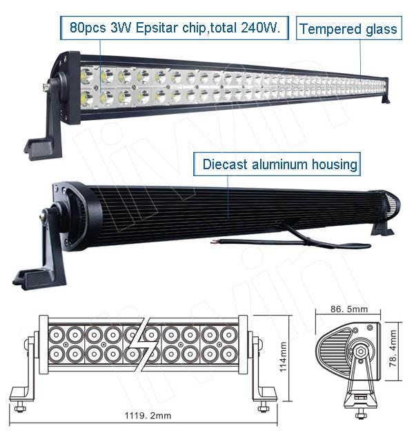 Venta caliente 240w 10-30v barra de luz led de la cubierta para utv de camiones y suv de la luz de la motocicleta