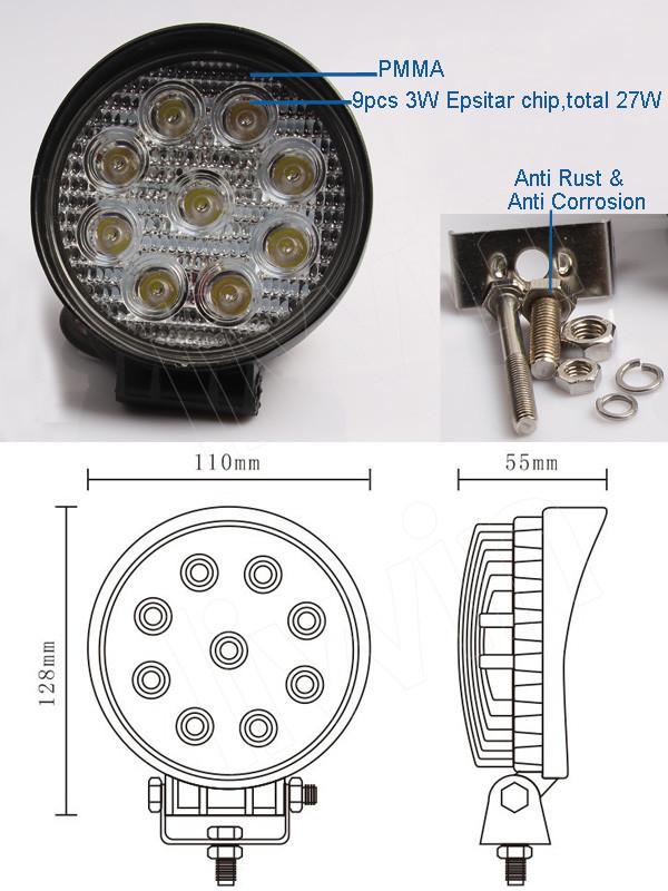 China proveedor super 27w brillante lámpara led de trabajo, alibaba expresar el trabajo de la lámpara, lw 12v auto led de luz de trabajo de la lámpara led para el coche y trai