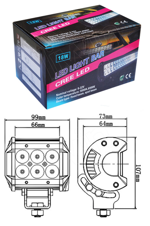 Longo tempo de vida mais 50.000 horas lw chip 2 linhas diodo emissor de luz bar 18w offroad luz led bar