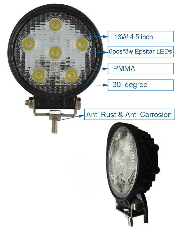 2015 супер яркий 10v-30v 5000 18w просвет светодиодные свет работы lw светодиодный светильник работы для utv автомобиля