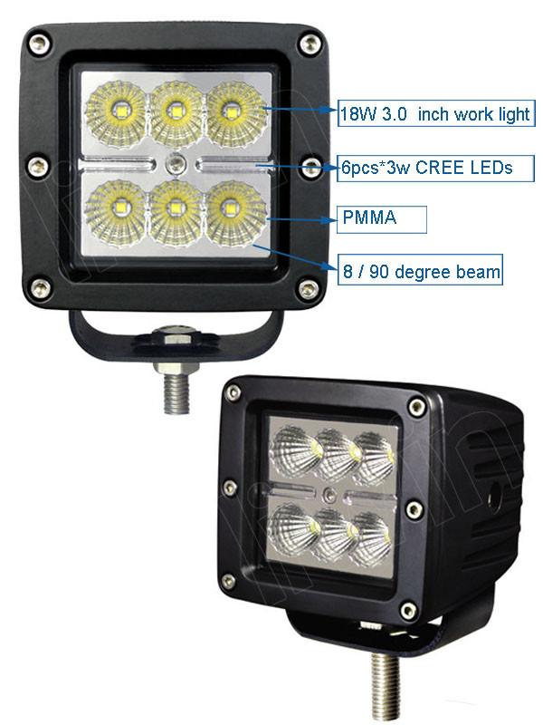Excelente 10-30v 18w luz de trabajo led lw