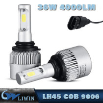 LH45 Cob Chip S2 9006 All In One Design Auto Car H3 Led Headlight Bulbs For Used Cars