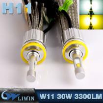 LVWON New Arrival 30W 3300LM Led Headlight 3000K 6000K Auto Headlight Bulb H11 High Power Led With Holder Mini car led logo laser lighting