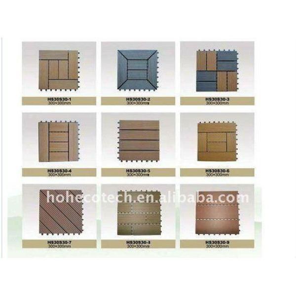 De fácil limpieza fácil instalación azulejo decking del wpc de lijado no - deslizamiento wpc azulejos