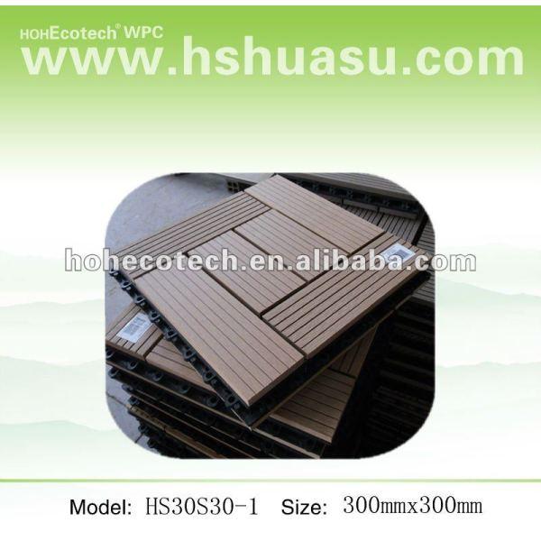 300mmx300mm tamaño de enclavamiento duradero decking del wpc/azulejos de piso