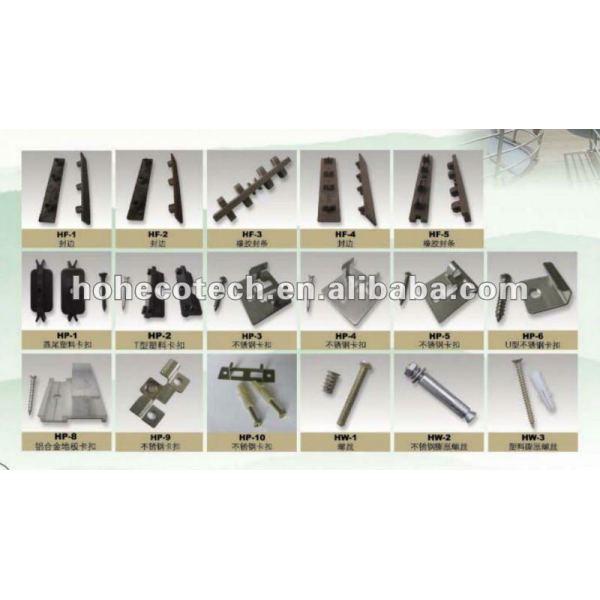 Los accesorios del decking de WPC, los clips plásticos o el acero inoxidable acorta (con los tornillos)