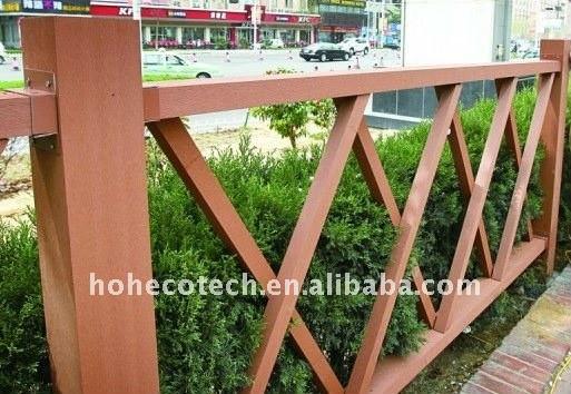 Le decking de jardin couvre de tuiles la clôture de composé de WPC/balustrade