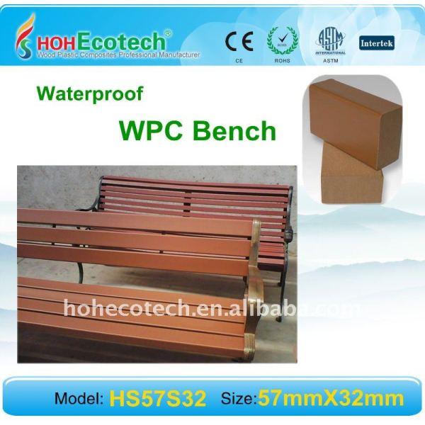 compuestos de madera plástica banco de madera de aspecto natural y se siente al aire libre wpc banco