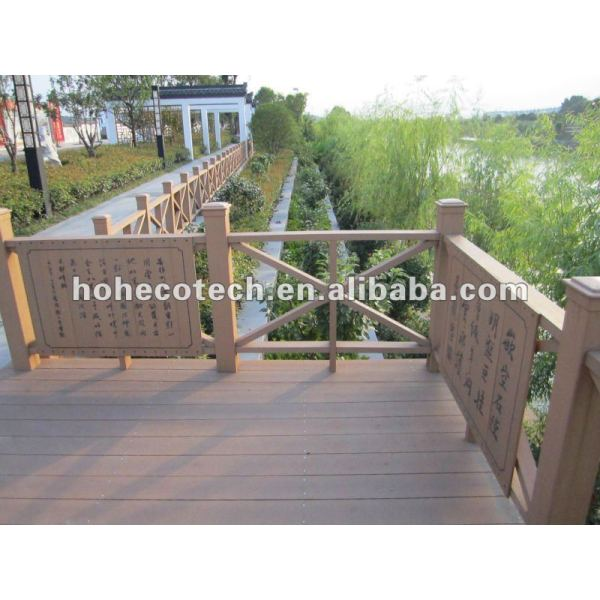 Eco de madera natrual ( compuesto plástico de madera ) wpc barandilla de la escalera/jardín barandilla/zona juegos barandilla/guardia de los carriles/orilla del río barandilla