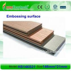 Decking composé en plastique en bois plein de la conception 146*21mm WPC/plate-forme en bois wpc de plancher (CE, ROHS, ASTM, OIN 9001, OIN 14001, Intertek)