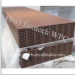La conception LÉGÈRE creuse cannelle le Decking en bois extérieur de composé de decking de wpc de /flooring de decking de Decking composé en plastique en bois