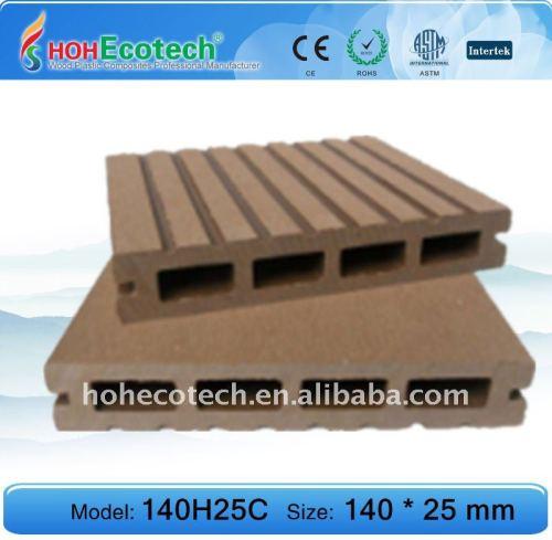 decking extérieur du wpc 140H25 de decking de plancher composé creux de plancher