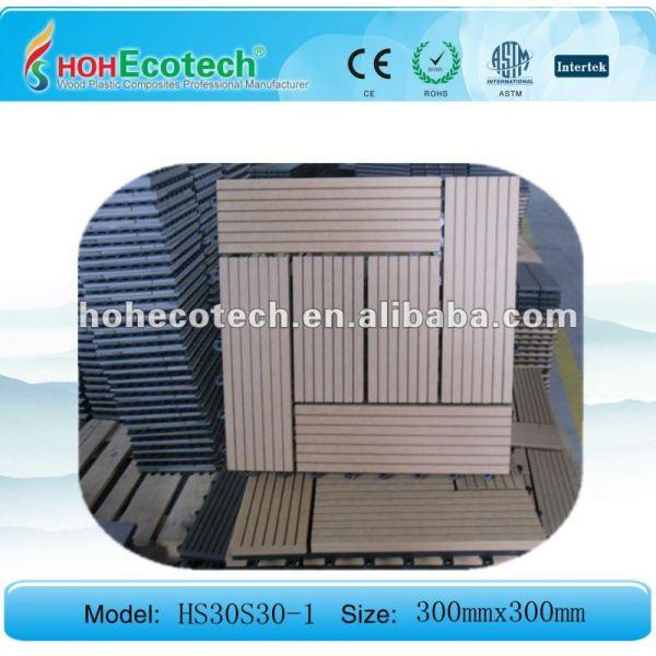 Eco - de madera de plástico compuesto de enclavamiento wpc decking azulejos