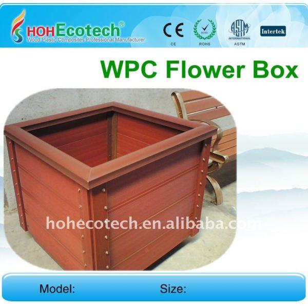 Compuestos de madera plástica caja de flores de jardín al aire libre del wpc valla flor caja wpc barandilla/esgrima caja de flores