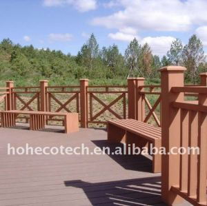 PUBlic Leisure Square /ground wood plastic composite wpc bench/railing/post wpc fencing
