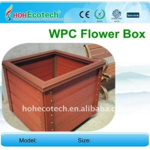 Compósitos de madeira plástica caixa de flores ao ar livre cerca do jardim wpc floreira wpc trilhos/esgrima