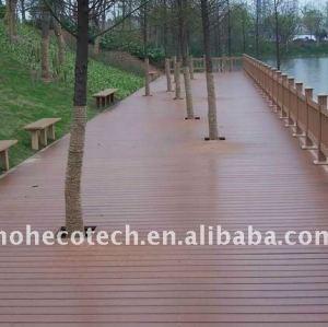 Decking composé en plastique/plancher en bois creux/plein avec le decking/bois de charpente en plastique de wpc de cannelures (CE, ROHS, ASTM, Intertek)