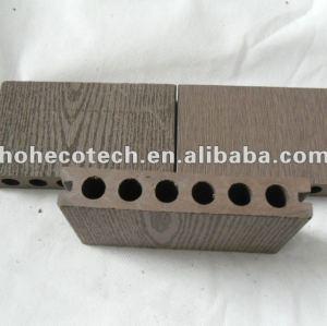 Decking composé en plastique en bois imperméable à l'eau du trou rond WPC de la garantie HOH Ecotech 138X23 de qualité/decking de wpc carrelage