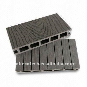 Tuiles en plastique en bois de decking de bois de construction en bois composé léger CREUX de la conception WPC