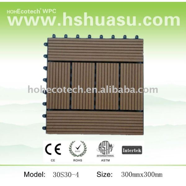 Cubierta de teja wpc/diy azulejo/madera decking compuesto plástico