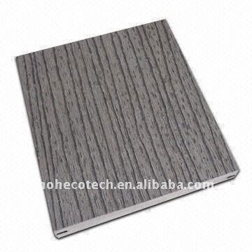 decking PLEIN stable GRIS extérieur gravant en refief de wpc de conception/Decking extérieur en bois de panneau plancher de plancher