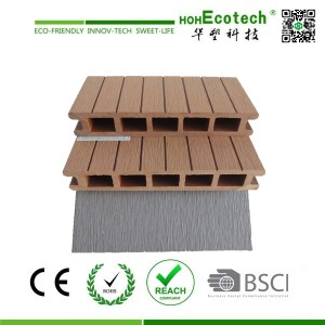 Patio/terrace using brown and gray color wood plastic composite hollow decking