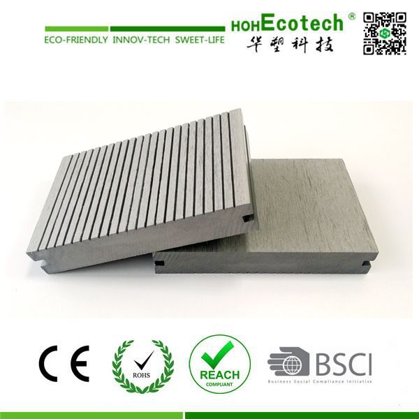 Grey color synthetic wood plastic decking china solid for 6 metre lengths of decking