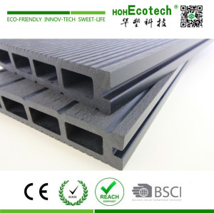 Two surfaces grooved dark color wood plastic composite decking