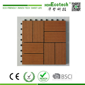 Plastic base wood-plastic composite interlocking deck tile