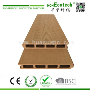 Hollow wood composite garden decking