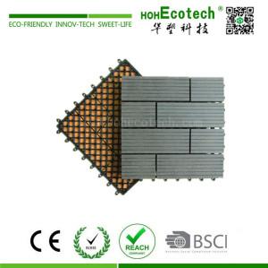 Easy assemble interlocking wooden deck tile