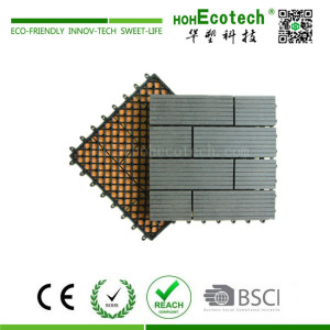 Easy assemble interlocking wooden deck tile