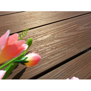 Long life span capped wood plastic composite deck floor