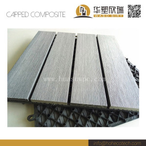 Wood plastic composite co-extrusion deck tile with brushing surface