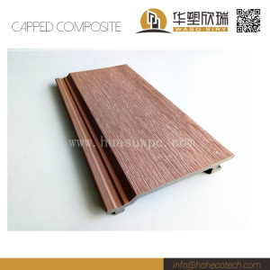 Wood plastic composite capped wall cladding with brushing surface
