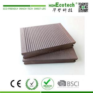 Solid outdoor wood plastic composite decking