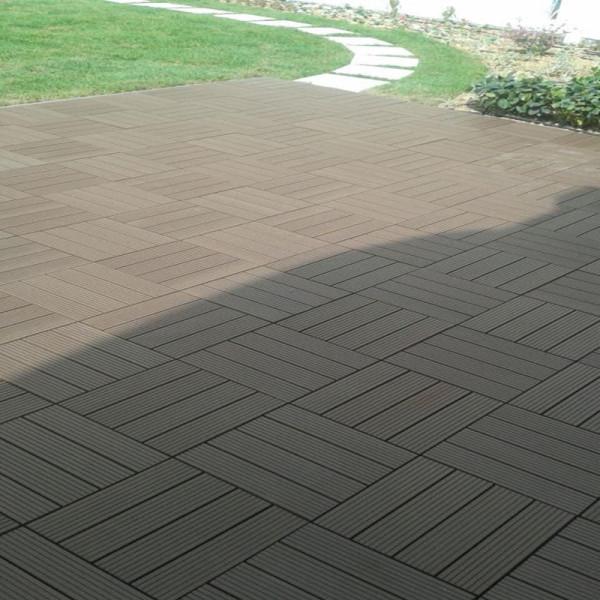 12 * 12 em telha de deck DIY de grão de madeira para pátio