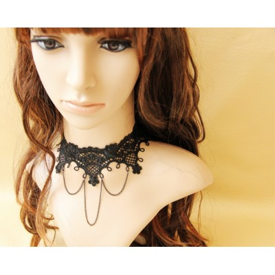 Vintage style sexy black lace necklace with alloy chain
