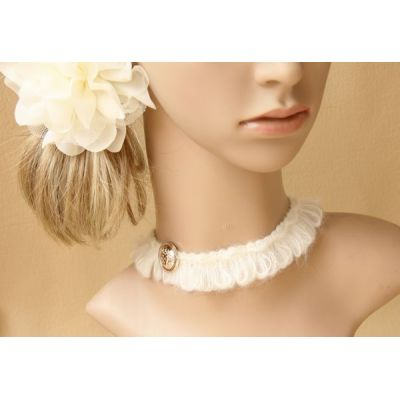 Ladies white wool design nice necklace wholesale