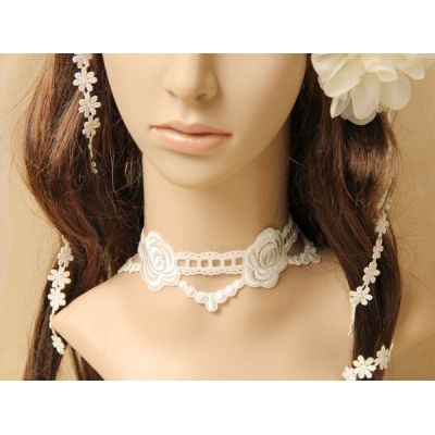 White flower lace short choker necklace for ladies/women wholesale