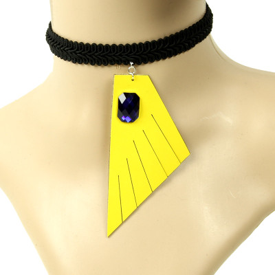 Special T style black lace geometrical necklace