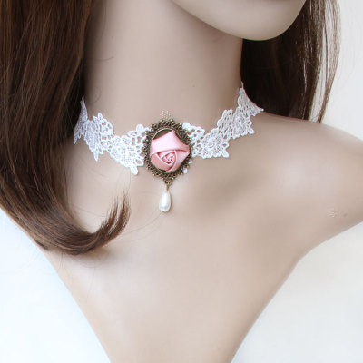 Newest design for bride decoration lace short necklace