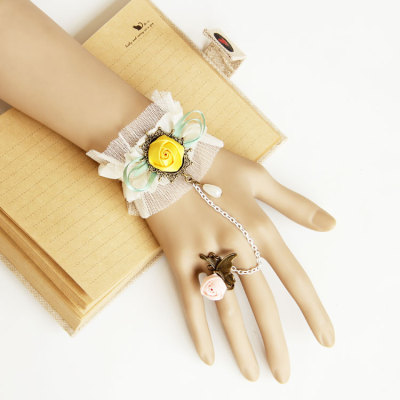 Handmade White Lace Bracelets with Yellow&Pink Rose