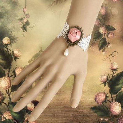 Valentine's Gift White Vintage Lace Bracelet With Pink Rose