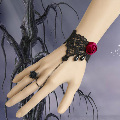 Black Lace Red Rose Decoration Bracelet for Ladies' Party