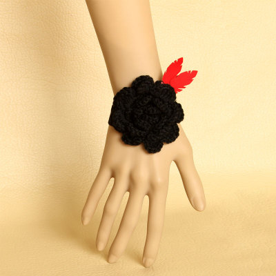 Fashion Flower Artificial Leather Bracelet for Sexy Party